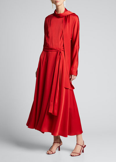 Viscose Satin Tie-Neck Wrap Dress