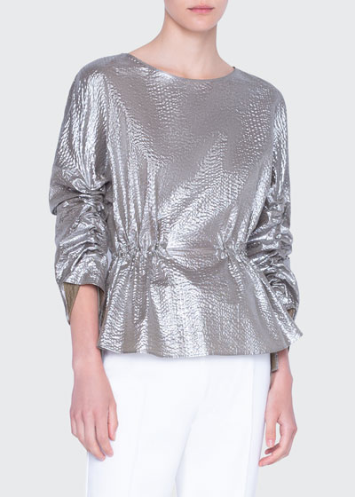 Metallic Cotton Bracelet-Sleeve Shirt