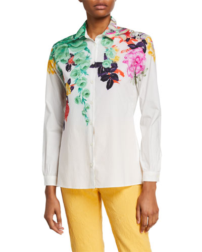 Bouquet-Print Cotton Poplin Shirt