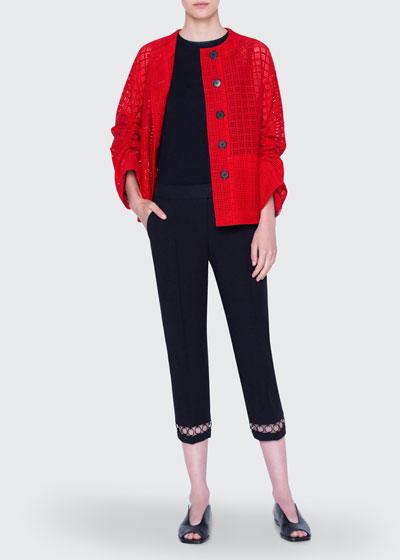 Jacket Mesh Lace Round-Neck Jacket