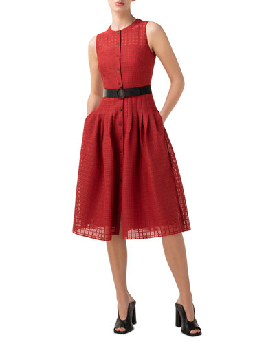 Grid Lace Button-Front A-Line Dress