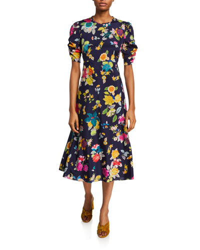 Allover Exotic Floral-Print Silk Dress
