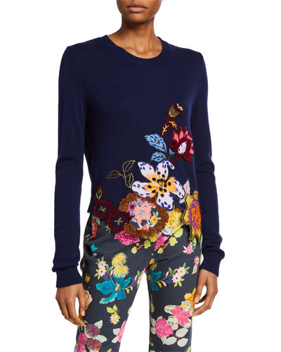 Floral-Embroidered Cutout Sweater