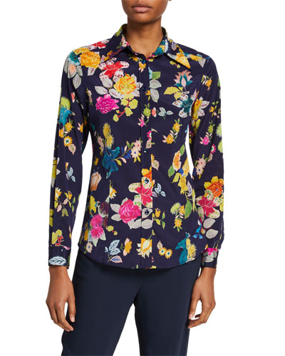 Floral-Print Stretch Silk Shirt