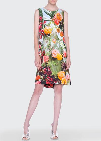 Cactus-Print A-Line Dress