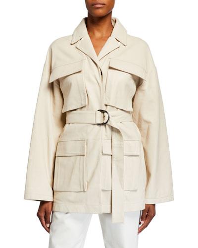 Leather Wrap Utility Jacket