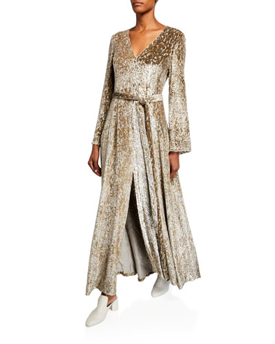 Shimmer Velvet Long-Sleeve V-Neck Gown