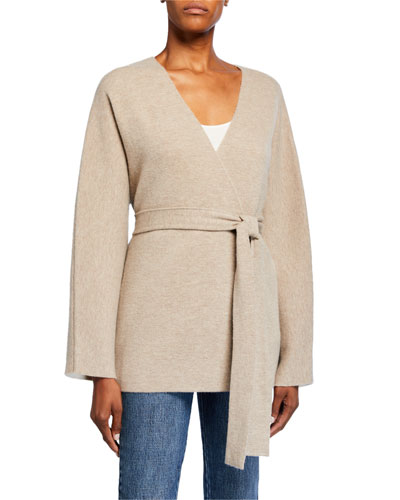 Wool-Cashmere Belted Cardigan