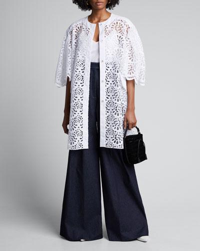 Lace Dramatic-Sleeve Oversized Coat