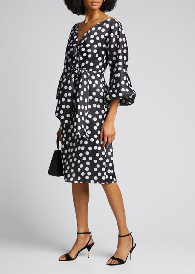 Polka-Dot Organza Puff-Sleeve Dress
