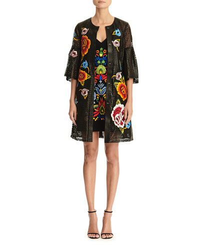 Floral Embroidered Bell-Sleeve Laser Cut Leather Coat