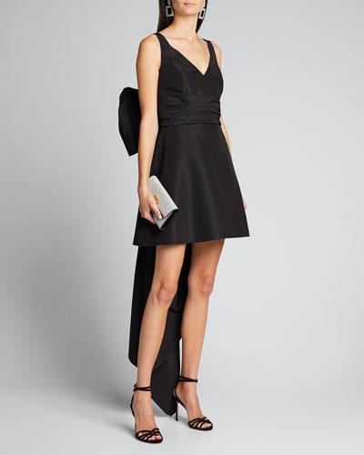 V-Neck A-Line Mini Dress w/ Back Bow Detail