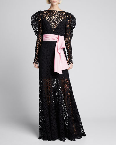 Puff-Sleeve Lace Illusion Gown