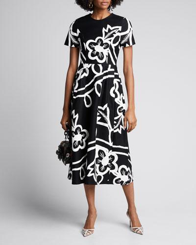 Floral-Print Poplin Short-Sleeve Dress