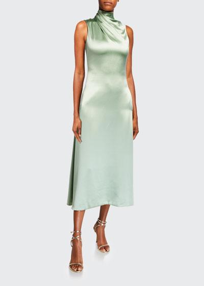 Fluid Silk Wrapped High-Neck Dress