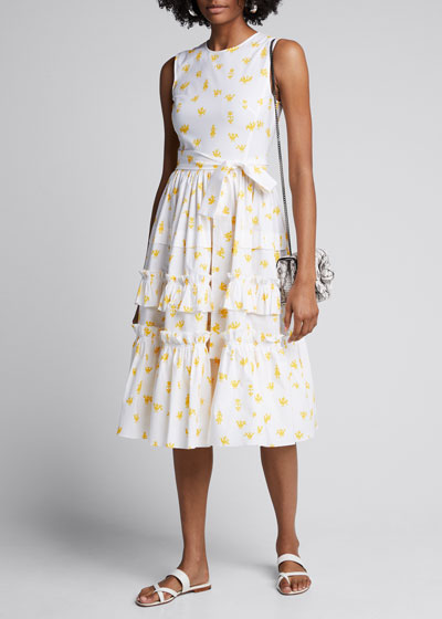 Printed Poplin Ruffle Tiered Dress