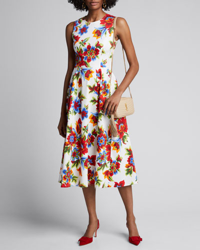 Floral-Print Sleeveless A-Line Dress
