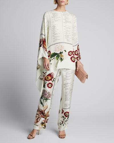Script & Floral Pleated Georgette Pants