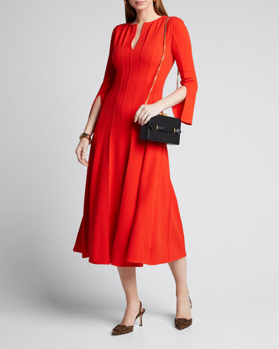 Plisse V-Neck 3/4-Sleeve Midi Dress