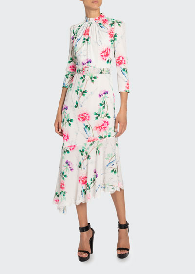 Floral-Print Mock-Neck Asymmetric Dress