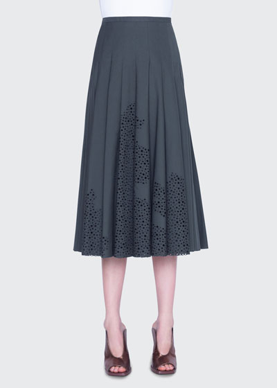 Broderie Anglaise Bell-Shaped Midi Skirt