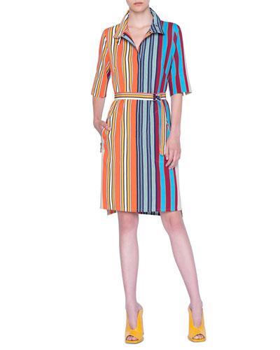 Parasol Striped Half-Sleeve Belted Shirtdress