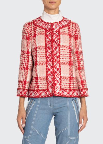 Boxy Plaid Woven Jacket