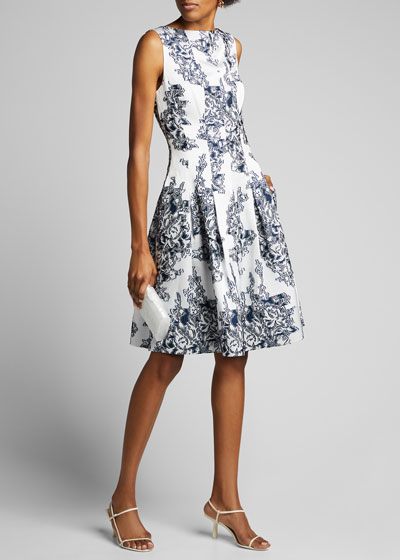 Floral Print Organza Midi Dress