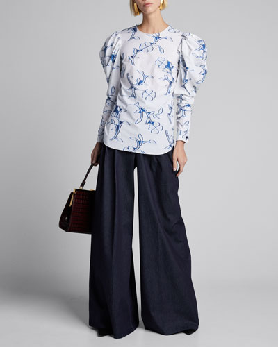 Floral Print Puff Sleeve Cotton Blouse