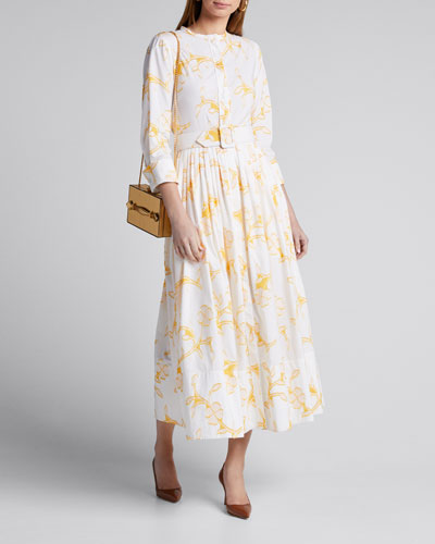 Floral Belted Cotton Poplin Shirtdress