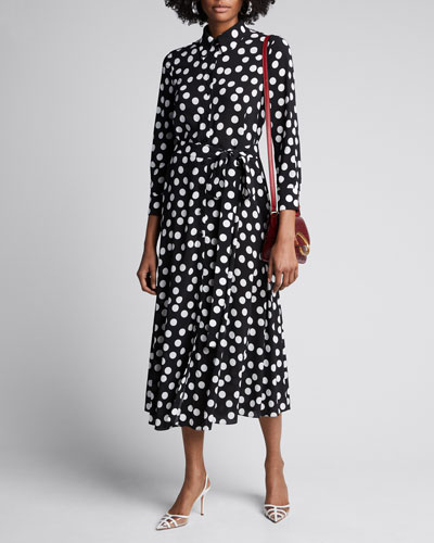 Polka-Dot Tie-Waist Shirtdress