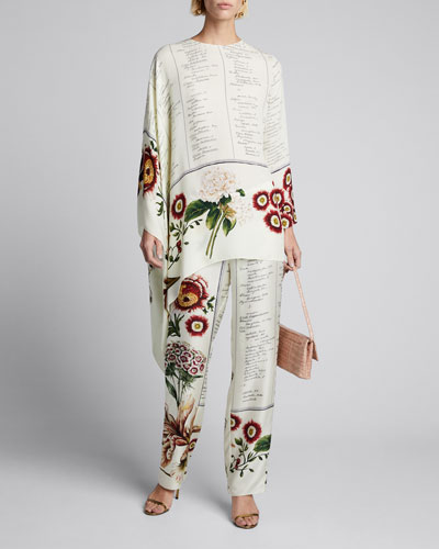 Floral Script Asymmetrical Long-Sleeve Silk Blouse
