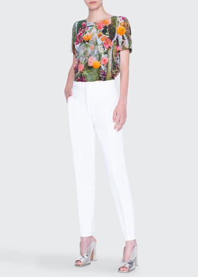 Cactus Blossom Print Silk Blouse