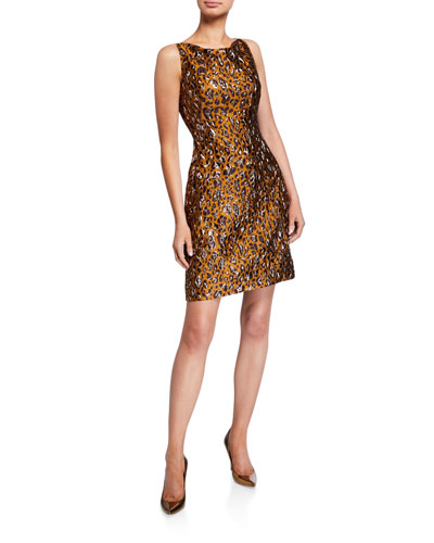 Leopard Jacquard Cocktail Dress