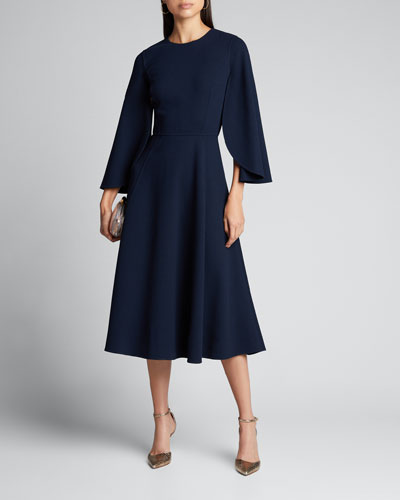 Cape-Sleeve Wool-Crepe Midi Dress