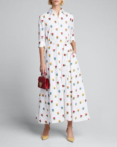 Long Floral-Print Shirtdress w/ Waist Tie