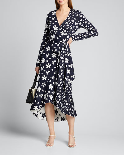 Daisy Patterned Long-Sleeve High-Low Wrap Dress