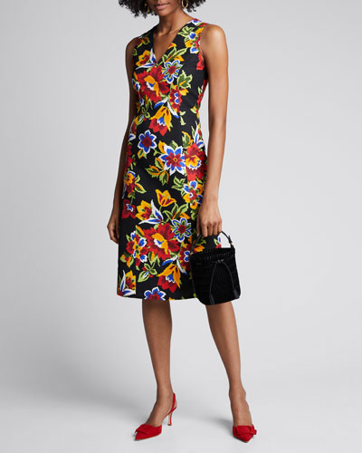 Floral Jacquard V-Neck Shift Dress