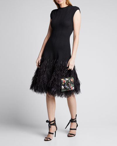 Cap-Sleeve Knit Feathered-Skirt Cocktail Dress