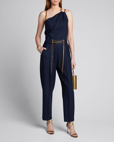 Asymmetrical Chain Strap Stretch Wool Jumpsuit