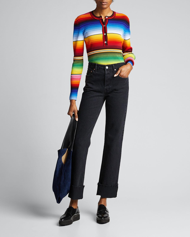Carolina Herrera Sweaters STRIPED JERSEY HENLEY SWEATER