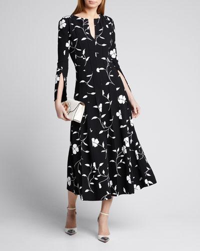 Flower Plisse Slit Sleeve Midi Dress
