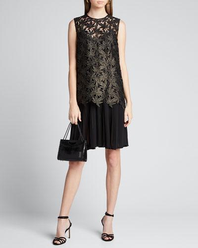 Maple Leaf Lace Pleated Dress