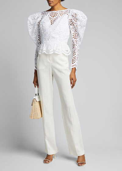 Dramatic Puff-Sleeve Lace Blouse