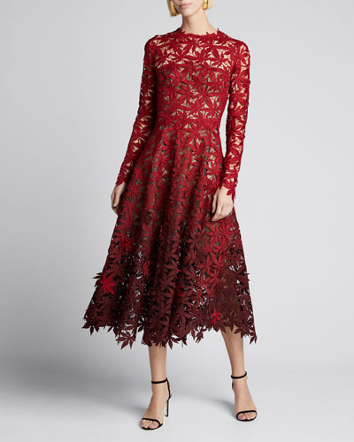 Maple Leaf Embroidered Long Sleeve Midi Dress