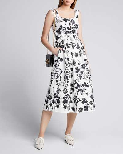 Flower Cotton Poplin Sleeveless Midi Dress