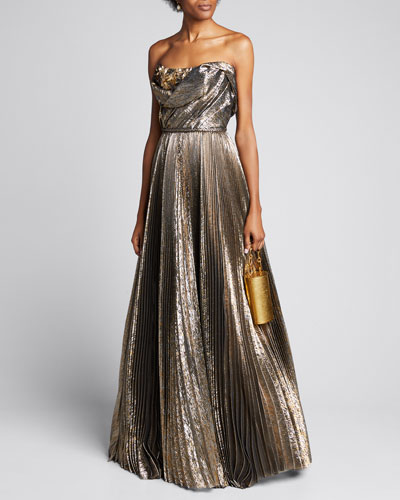 Strapless Metallic Pleated A-Line Gown
