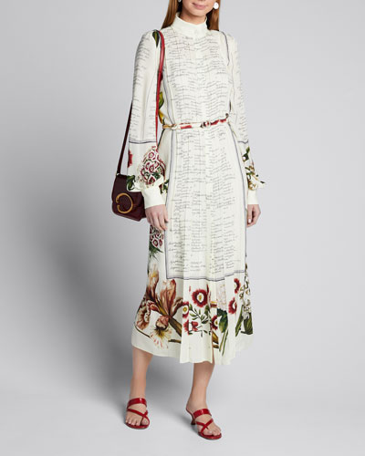 Script & Floral Pleated Georgette Shirtdress