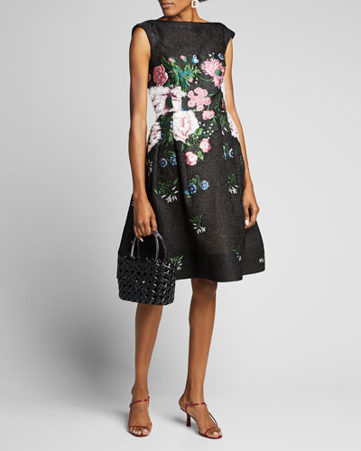 Floral-Embroidered Fil Coupe Dress