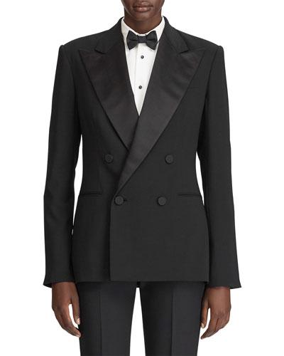 Chrystie Satin-Trim Tuxedo Jacket